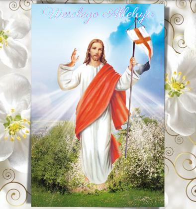 Na środku Pan Jezus Zmartwychwstały