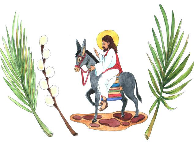 Obrazek przedstawia Pana Jezusa jadącego na osiołku. Obok rysunek gałązki palmy i gałązki bazi.