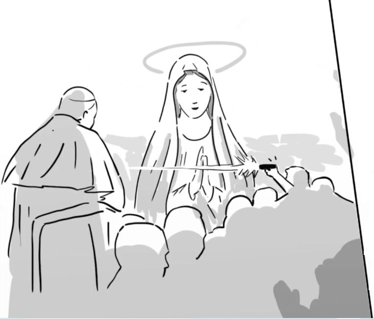 Na obrazku przedstawiono Matkę Boską zmieniającą lot kuli z pistoletu zamachowca w kierunku papieża Jana Pawła II