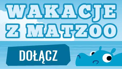 Niebieski baner z napisem, Wakacje z Matzoo Dołącz . obok rysunek głowy niebieskiego hipopotama