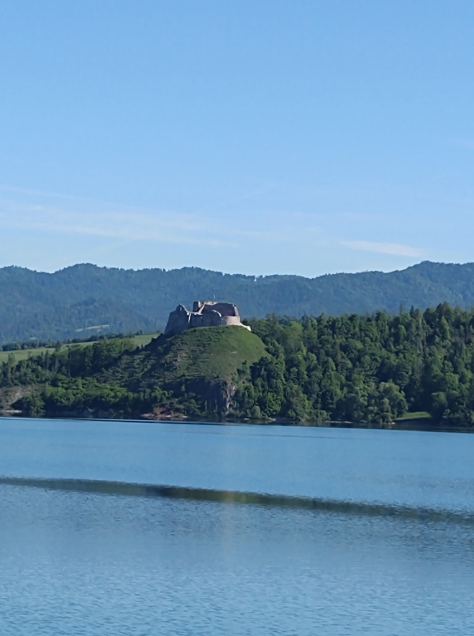 Zdjęcie przedstawia widok ruin Zamku Czorsztyńskiego na tle jeziora
