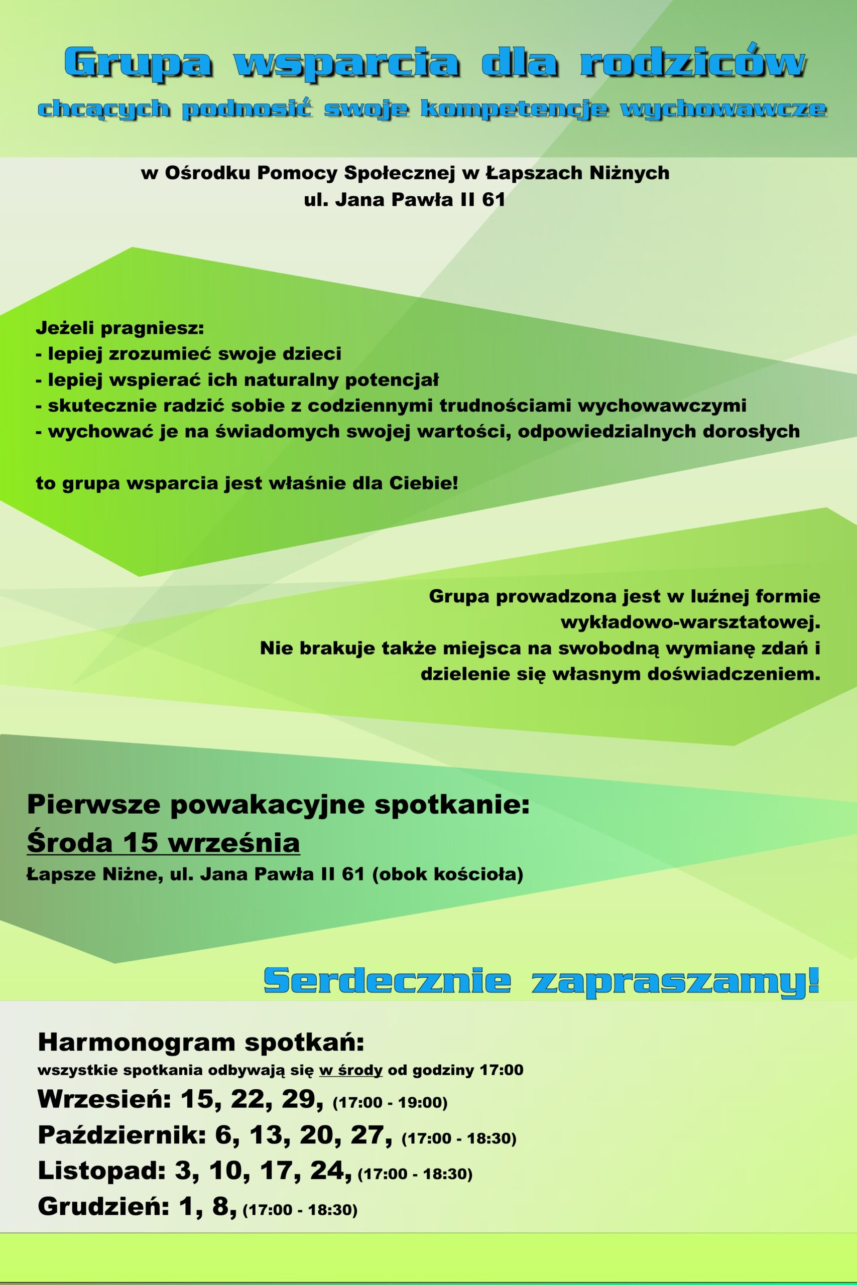 Plakat - grupa wsparcia dla rodziców w Ośrodku Pomocy Społecznej w Łapszach Niżnych