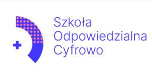 Logo Szkoła Odpowiedzialna Cyfrowo niebieskie litery na białym tle, po lewej stronie niebieski plus i niebieski łuk z czerwonymi kropkami od góry na dwie trzecie powierzchni.